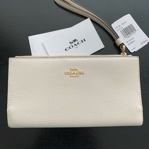 New! Coach chalk pebble leather wallet $178
